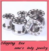 Free shipping,mix 6 size 100 pcs steel crystal flesh tunnel ear plug ear tunnel piercing body jewelry
