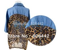 Hot Sale Fashion Womens Back Leopard Pattern Retro Denim Top Button Shirt Blouse Loose Free Shipping 8995
