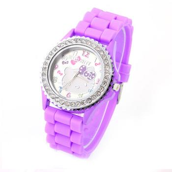 New sports jelly women Watches Crystal decoration silicone rhinestone Quartz wristwatches