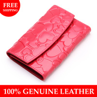 fashion peach heart print female wallet short design women's genuine leather wallet for woman multifunctional wallet