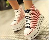 Drop American flag ultra high heels Prevalent Girl school Canvas high heel Platform Fashion Sneakers Zipper shoes flat canvas