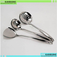 T10 Good Quality Cooking kit stainless steel kitchenware three pieces pre set kitchen catering spatula with safety free shipping