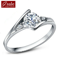 GS brand JZ-62 Bestselling 925 sterling silver luxury zircon crystal gem platinum plated female rings wholesale ring jewelry