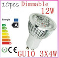 10pcs/lot Dimmable GU10 4X3W 12W 4-CREE LEDS Led Lamp Spotlight 85V-265V Led Light downlight High Power free shipping(China (Mainland))