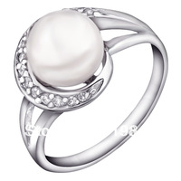 Free shipping Elegant princess natural pearl ring female models 925 sterling silver inlaid pure and perfect love