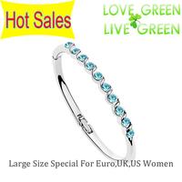 2014 factory Wholesales 2014 18KGP Oceanblue Austria crystal Euro US UK Women cuff bangle Bracelet fashion jewelry sets 70027