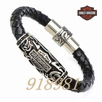 Free shipping man motorcycle cool cord bracelets titanium steel fashion punk cow leather Bangles men's bracelet men jewelry