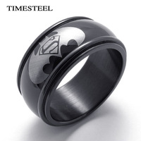 FTR005 Fashion Cool Black Batman&Superman Ring For Men 10mm Wide Big&Large 316L Stainless Steel  Men's Jewelry