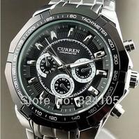 Free shipping CURREN New Brand Men Luxury Watches Fashion 6 Hand Dial Round Black Dxial Quartz Steel Watch Men Business Gif