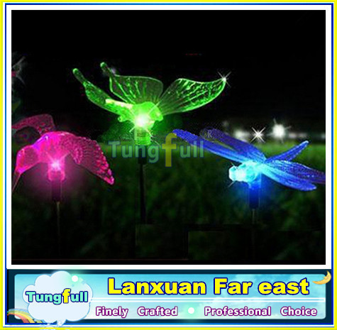 3PC SOLAR POWER COLOR CHANGING GARDEN LIGHT SET DRAGONFLY BUTTERFLY HUMMINGBIRD Free Shipping(China (Mainland))