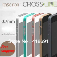 Free shipping New Arrival 0.7mm Ultra Slim Cross Line Case sp-5 Metal Bumper Case for iphone 5 5g