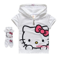 Free shipping Summer Children Suits Hello Kitty Girls Sets Baby wear Children Clothing Cotta T-shirt+Pants 5pcs/lot 90-130cm