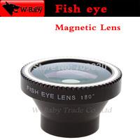 Detachable Fish eye lens magnetic adsorption Fisheye Lens for iPhone 4 4s 5s 5c 5 Samsung Galaxy Mobile phone lens,1 pcs