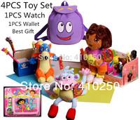 5PCS/ Toy Lot Set Dora the Explorer Dora Toy Dora Doll for Girls Kids Boots the Monkey Swiper Fox Plush Dora Children Backpack