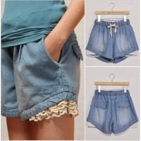 Free shipping 2013 new Hot casual lace denim shorts women short pants jeans loose hot pants