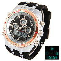Bistec Unisex Waterproof Silicon Double Movt LED Watches with Digital Number Display Time Round Shaped