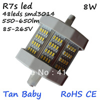 Free shipping 8W R7S led lamp 78mm smd 3014 led bulb 85-265v dimmable or dimmable replcaement halogen floodlight RoHS CE