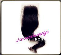 """Fashion Wig  16"""" #1b Yaki Straight Brazilian Virgin Hair Lace Closure(4""""*4"""")"""