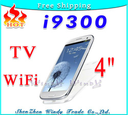 "HOT TV WiFi i9300 S3 9300 4.0 "" Touch Screen Quad Band Dual SIM Card mobile Cell Phone with Russia Polish language+ Gift(China (Mainland))"