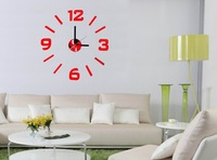 Free shipping 3D wall stickers clock diy digital wall stickers wall clock art clock fashion living room wall clock