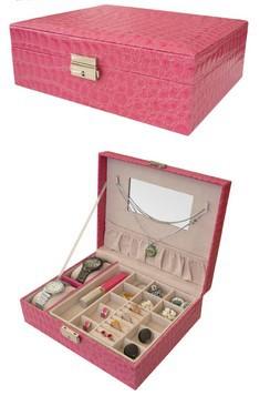 Day gift crocodile jewelry cosmetic ring earing watch box princess fashion storage organizer discount sale promotional product(China (Mainland))