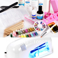 Full Set UV Gel klt Brush Pen Nail Art DIY Manicure set + 9w white uv gel lamp  - NA883