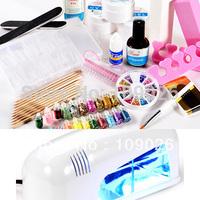 Full Set UV Gel klt Brush Pen Nail Art DIY Manicure set + 9w white uv gel lamp  - NA883