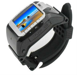 Brand New Full Black N388 Wrist Watch Mobile Cell Phone with Camera with Silver Frame(China (Mainland))
