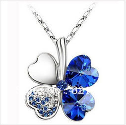 QS-201003 Free shipping Promotion Gift Four Leaf Clover Crystal Necklace Special Offer Necklaces Fashion 5pcs/lot(China (Mainland))