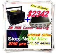 Full Color 3W RGB Laser DT40K Scanner+Laserwave R 637nm/500mW,G 1W,B 1.5W+Flightcase laser club,party laser show system effect