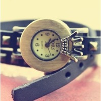 Free Shipping Fashion Crown Vintage Bronze leather watch /Slender watchband women's watch//twining wristwatc
