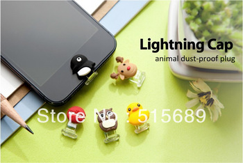 Free shipping Fashion mini cartoon dustproof plug/USB Lightning Cap for Ihpone5/Ipod /Ipad