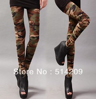 free shipping 2013  women free camouflage leggings combed cotton print Camouflage doodle legging big Elastic Slim leggings