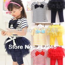 2014 NEW Girls clothing set free shipping Kids set summer wear Short sleeve suit Children clothing suit t shirt+pants stripe bow(China (Mainland))