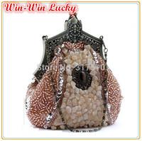 Hot Style Retro Fashion Women's Handbags. Hand-beaded Sequins Bridal Tote Bag Purse. Chain Lady Evening Bag Shoulder Messenger