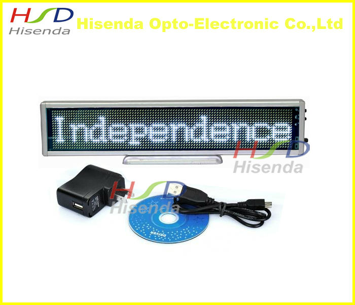 White SMD LED scrolling sign display board desk desktop panel car advertising /programmable /support most EURO languages(China (Mainland))