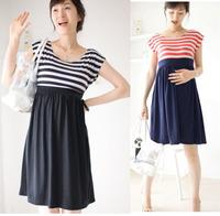 2014 summer maternity summer dress stripe 100% cotton maternity 2 one-piece dress for pregnant women