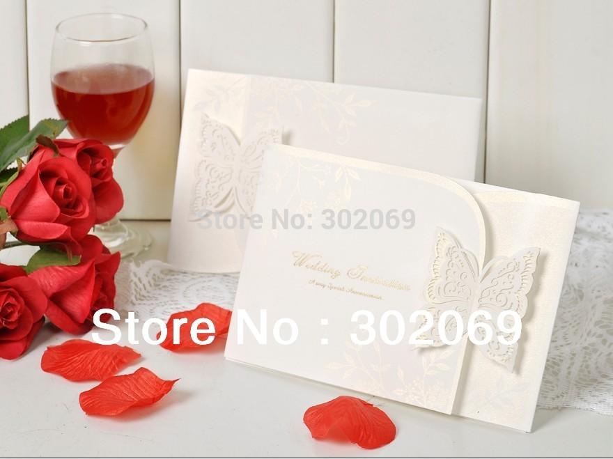 Elegant Tri-fold Wedding Invitation With Laser-cut Butterfly(China (Mainland))