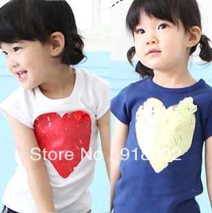 Cotton youngster short-sleeved T-shirts fashion for girls boys summer T shirts children clothes 5-size mixed lot free shipping