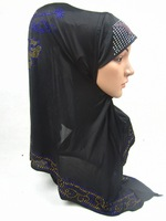 FD041 new fashion solid color flower beading square HIJAB islamic muslim scarf