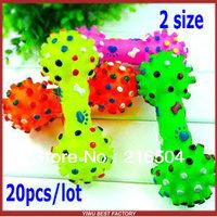 Free shipping Pet dog bone sounding toy 20pcs/lot Bright color pet sound chew toys 2 size Wholesale