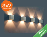 LED wall lighting+ 7 color option+Aluminum finished+3 watt+4pcs/lot + Free shipping