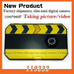 New products etail and wholesale HD 1280*960 Video J020 Slate slim mini digital Camera DV DVR support TF card Free Shipping(China (Mainland))