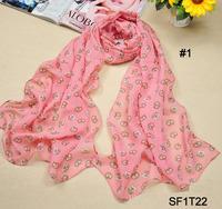 2014 Nice Chiffon Scarf Women High Quality Cats Chiffon Georgette Silk Scarves Shawl Female Long Design Wraps