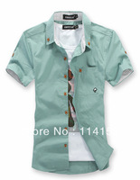2013 free shipping new hot cotton casual shirts for men short sleeve solid men shirt M/L/XL/XXL/XXXL/3 color