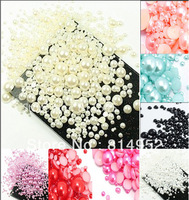 1000pcs Mixed Size Ivory 2mm,3mm,4mm,5mm,6mm,7mm,8mm,9mm,10mm Half Round Flatback Acrylic Pearl Beads Nail Art Phone Decoration