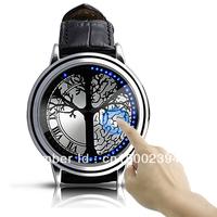 Brand New Stylish Tree Pattern Hybrid Blue Touch Screen Black Leather Band LED Wrist Watch