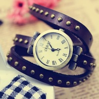 Free Shipping Hot sale Punk vintage Cow Leather winding 3 rings women watch women Bracelet,TOP quality