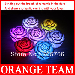 10pcs/Lot New Romantic Colors Changing Rose Flower LED rose Night light Decoration Candle Light Lamp Free Shipping(China (Mainland))