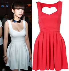 2013 newest design Red /White Sexy Heart Open Back Cocktail Party Slim Dress size S-L.(China (Mainland))